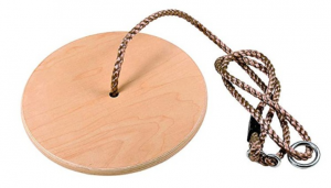 CTSC Wooden Round Disc Plate Swing Seat with Hanging Rope