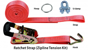 Zipline tensioning kit with ratchet strap crank ratchet to tension cables