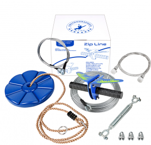 CTSC 110 Foot Zip Line Kit with Stainless Steel Spring Brake and Seat, Ziplines for Backyards, Bring Colorful Fun and Enjoyment with The Most Complete Accessories Zipline(Up to 250lb) (A - Blue)