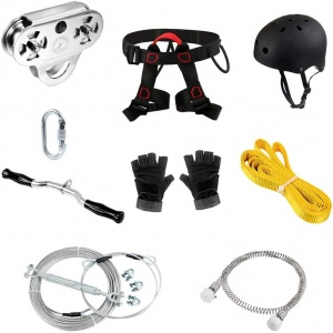 CTSC 150ft Heavy Duty Zip Line Kit Hi-end for Kids or Adults (up to 350 lbs) Zipline with All The Harnesses Spring Brake Max Cable  Thickness 16MM  (silver)