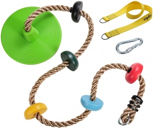 Zipdiz 6.56 ft Tree Climbing Rope with 5 Multicolor Platforms and Kids Disc Swing Seat, Adjustable Tree Swing Disc with 4.1 ft Hanging Strap, Locking Carabiner, Fun Outdoor Backyard Accessories(Green)