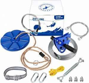 CTSC Upgraded 120ft Ziplines for Backyards with Seat and Spring Brake Zip Line Kit Come with Easy-to-Install Trolley and Tree Protetors (BLUE)
