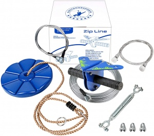 CTSC 110' Zip Line Kit with Spring Brake and Seat Zipline for Backyard Bring You Colorful Fun and Many Enjoyment (B-Blue)