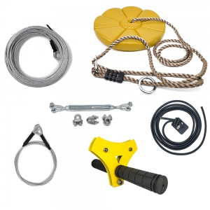 CTSC Backyard Zip Line Kit for Kids and Adult 95 foot  with Brake and Seat (Yellow Fly Math)
