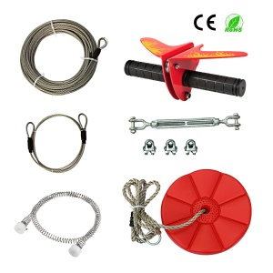 CTSC 110 Foot Zip Line Kit with Stainless Steel Spring Brake and Seat, Ziplines for Backyards, Bring Colorful Fun and Enjoyment with The Most Complete Accessories Zipline(Up to 250lb) (A - Red)