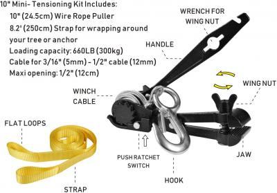 "CTSC Zipline Tensioning Kit - Zipline Installation Kits for Backyard with Mini Ratchet with Winch, Cable Grip for 3/16"" to 1/2"" Lines & Protective Tree Sling - Ultimate Zip Lines Tensioner Gear"
